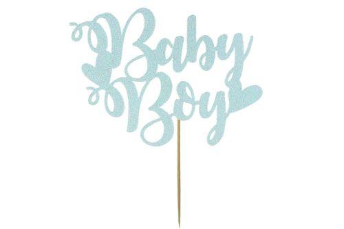 Pale Blue Baby Boy Cake Topper