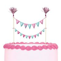 On Your Christening Cake Topper Bunting - Pink