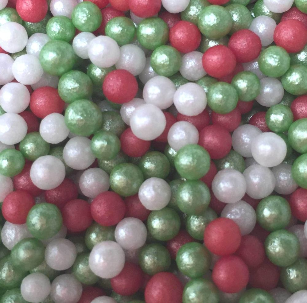 4mm Shimmer Christmas Pearls 80g