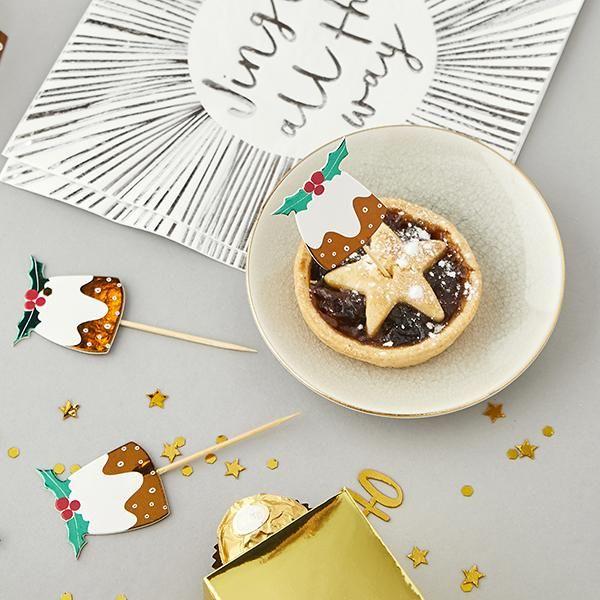 Christmas Pudding Food Picks Pack of 6