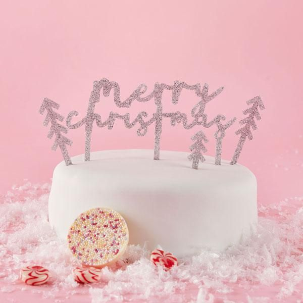 Merry Christmas Cake Topper Set Silver Glitter Acrylic