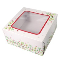 Holly Cake Box - 6'' wide x 4'' deep