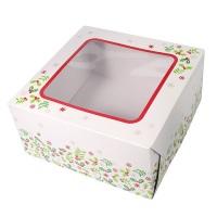 Holly Cake Box - 6'' wide x 4'' deep