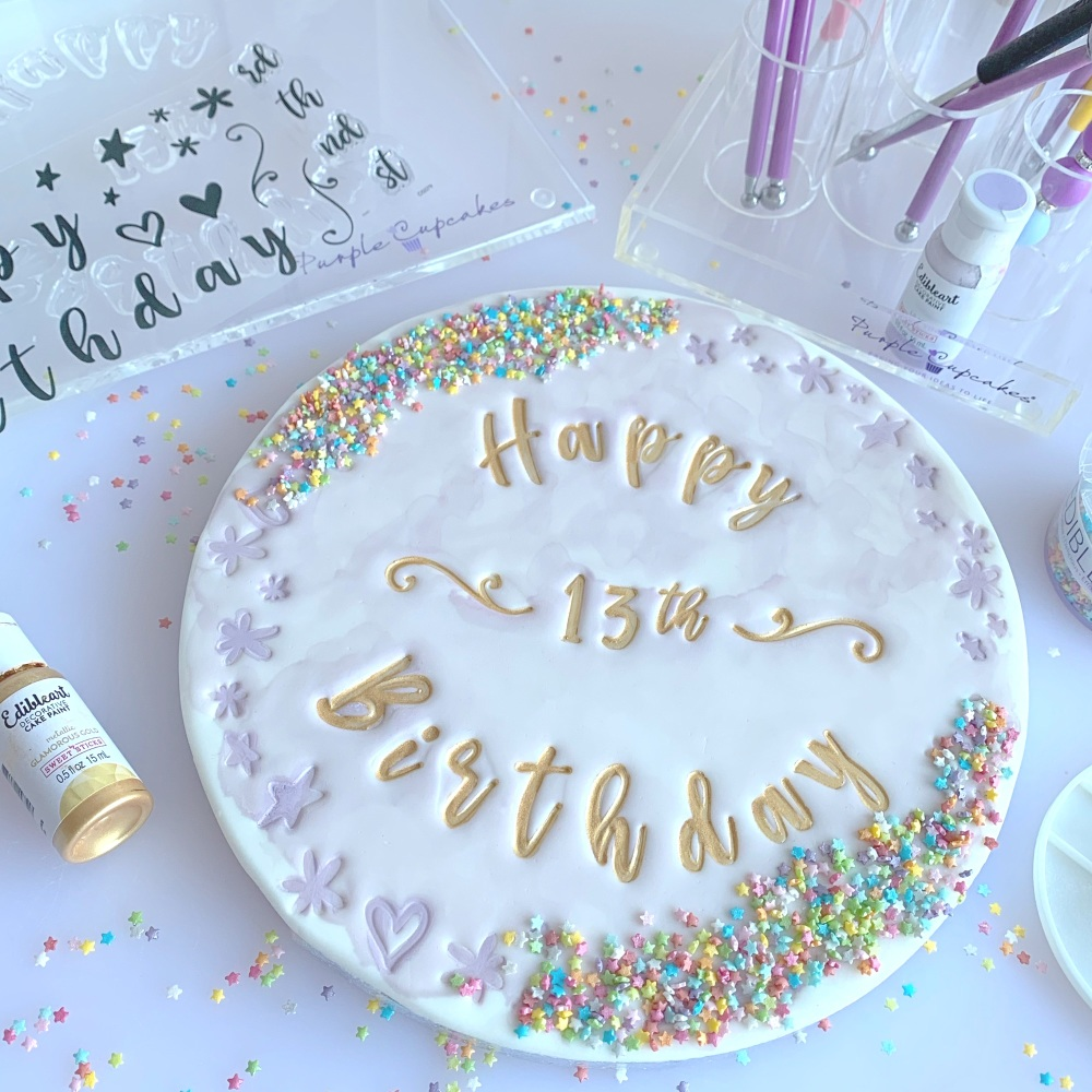 impressit™ Stamps: CELEBRATION HAPPY BIRTHDAY (Cake Board Size)