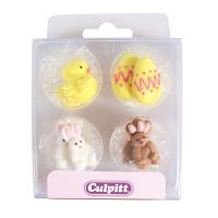 Culpitt Chick, Egg and Rabbit Sugar Piping Decorations x 12