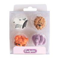 Culpitt Zoo Animal Faces Sugar Piping Decorations x 12