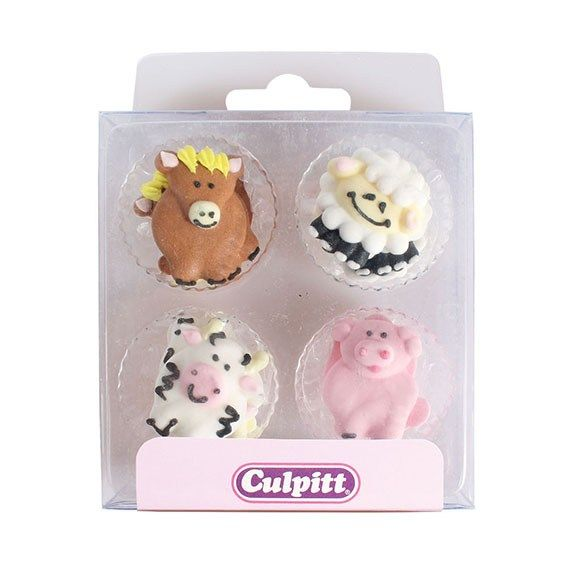 Culpitt Farm Animals Sugar Piping Decorations x 12