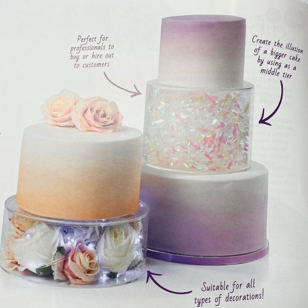 NEW - Clear Acrylic<br>Fill-A-Tier Cake Displays