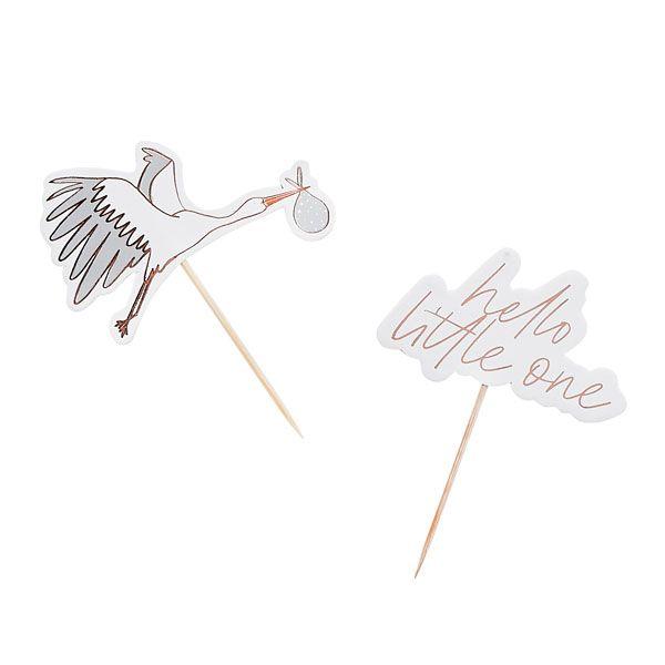 Hootyballoo - 6 Hello Little One Food Cupcake Picks with Stork