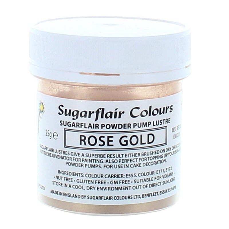 Sugarflair Powder Lustre 25g - Rose Gold, Finishing Sparkle and pale colour