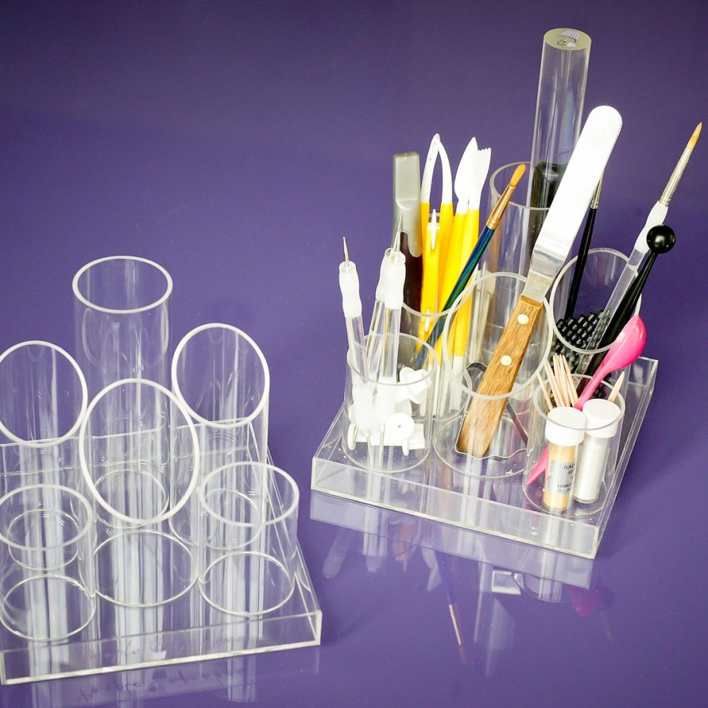 Purple Cupcakes Acrylic Sugarcraft Tool Caddy