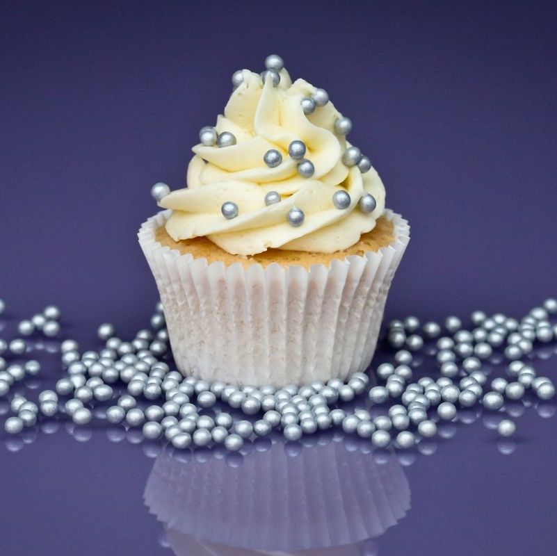 Purple Cupcakes - 4mm Pearls 80g - Shimmer Satin Silver