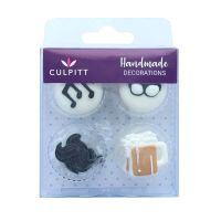 Sugar Decorations -  Moustache, Glasses, Music & Beer Sugar Decorations x 12