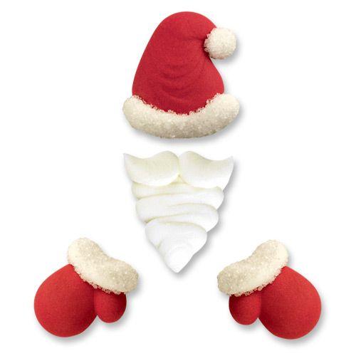 Sugar Santa Hats, Beard & Gloves - Pack of 6