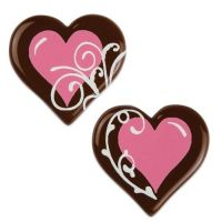 Dark Chocolate with Pink Hearts & White Swirls - Pack of 8