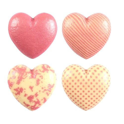 Hollow White Chocolate Hearts with Pink Decorations - Pack of 4