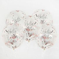 """12"""" Confetti Balloons - Hello Little One (Pack of 5) Rose Gold"""