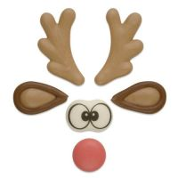 Funny Rudolph Reindeer Sugar Set - Antlers, Ears, Nose & Eyes (3 Sets)