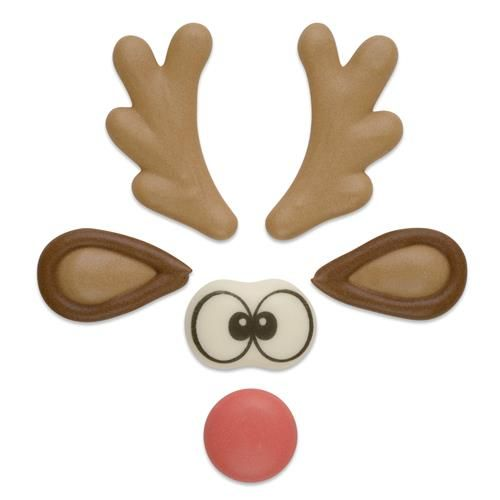 Funny Rudolph Reindeer Sugar Set - Antlers, Ears, Nose & Eyes (3 Sets)