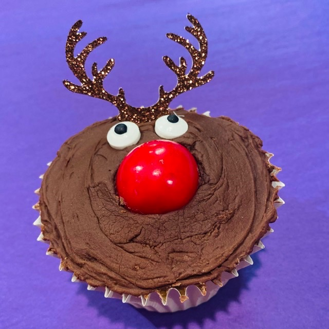 Set of Rudolph Red Noses, Cupcake Antler Picks, Christmas Cupcake Cases & S