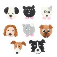 Hand Piped Sugar Decorations - Cats & Dogs Pack of 8