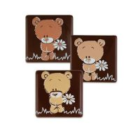 Dark Chocolate Squares 30mm with Cute Bear (Pack of 15)