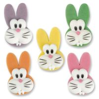 Marzipan Sugar Bunny Rabbit Heads Assorted Colours (Pack of 5)