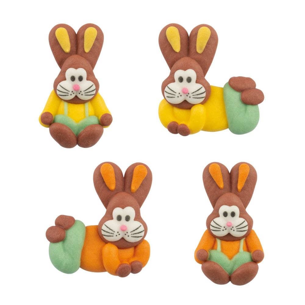 Sugar Easter Bunny Rabbits Assorted Colours (Pack of 8)