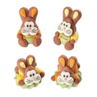 Sugar Easter Bunny Rabbits SITTING Assorted Colours (Pack of 4)