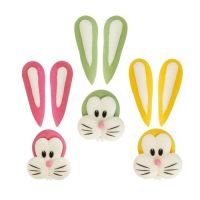 Sugar Easter Bunny Large FACES & EARS Assorted Colours (Pack of 6)