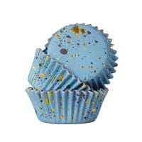 PME Foil Lined Cupcake Cases Pack of 30 - Blue with Gold Flecks