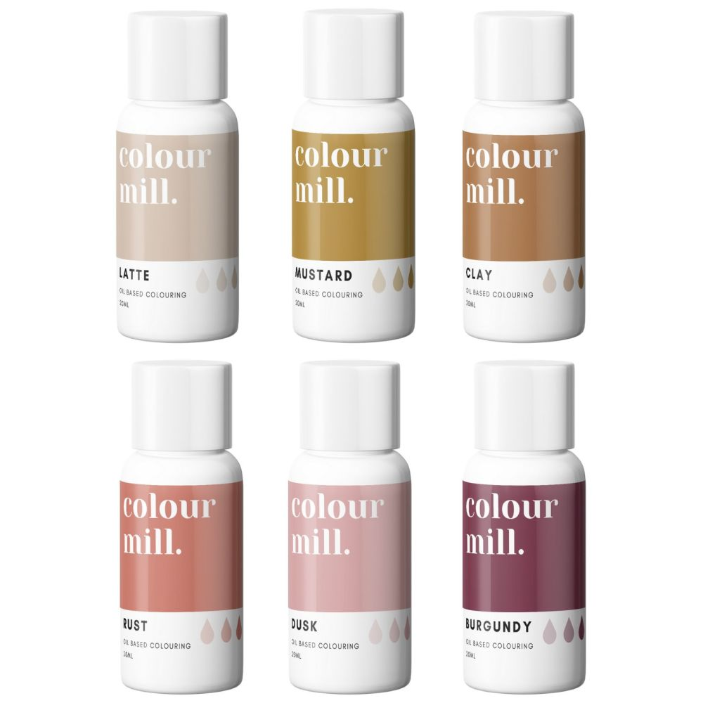 Colour Mill 20ml - NEW COLOURS! Set of 6 - Clay, Mustard, Latte, Rust, Dusk
