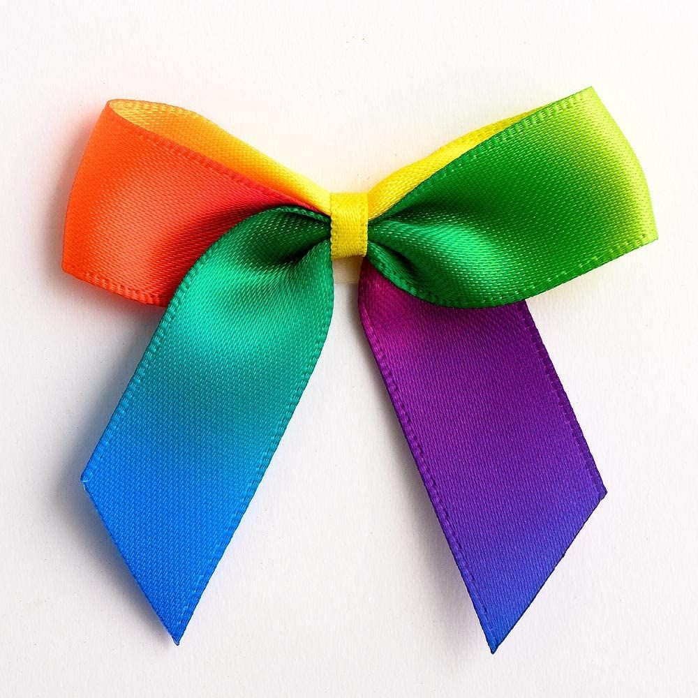 Satin Cakesicle  Bows - 5cm Self Adhesive Pack of 12 - BRIGHT RAINBOW