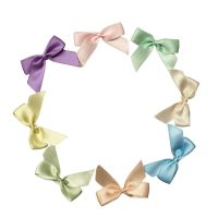 Satin Cakesicle  Bows - 5cm Self Adhesive Pack of 8 - LULLABY MIX
