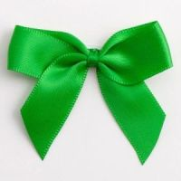 Satin Cakesicle  Bows - 5cm Self Adhesive Pack of 12 - EMERALD GREEN