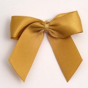 Satin Cakesicle  Bows - 5cm Self Adhesive Pack of 12 - GOLD