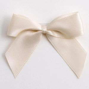 Satin Cakesicle  Bows - 5cm Self Adhesive Pack of 12 - IVORY