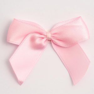 Satin Cakesicle  Bows - 5cm Self Adhesive Pack of 12 - PALE PINK