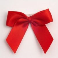 Satin Cakesicle  Bows - 5cm Self Adhesive Pack of 12 - RED