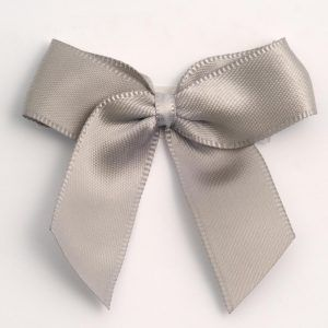 Satin Cakesicle  Bows - 5cm Self Adhesive Pack of 12 - SILVER