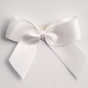 Satin Cakesicle  Bows - 5cm Self Adhesive Pack of 12 - WHITE