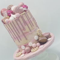 Confectioners Cake Drip 100g by Dinkydoodle - Metallic PINK SHERBERT