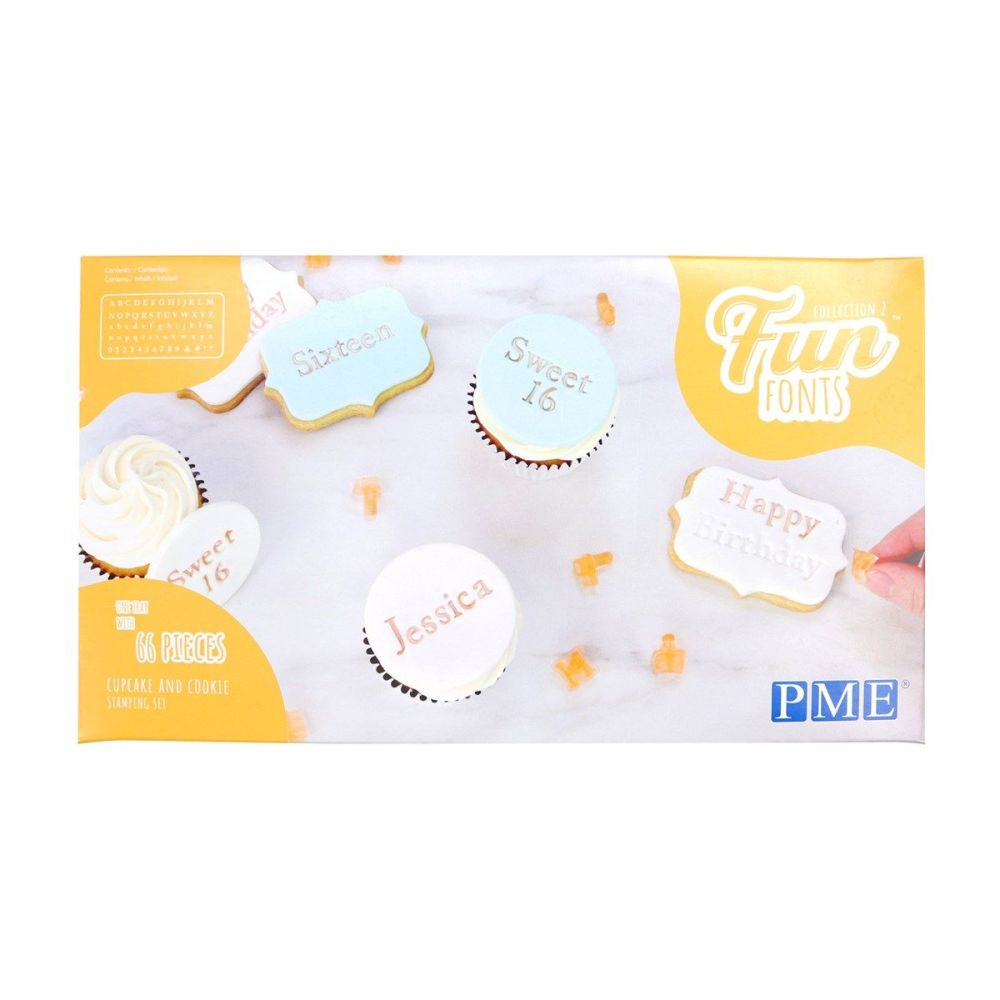PME Fun Fonts Cake Stamp Set Upper, Lower Case Letters and Number 66 Pieces