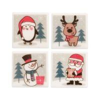 Sugar Christmas Plaques - Set of 12 (Penguin, Reindeer, Santa & Snowman)
