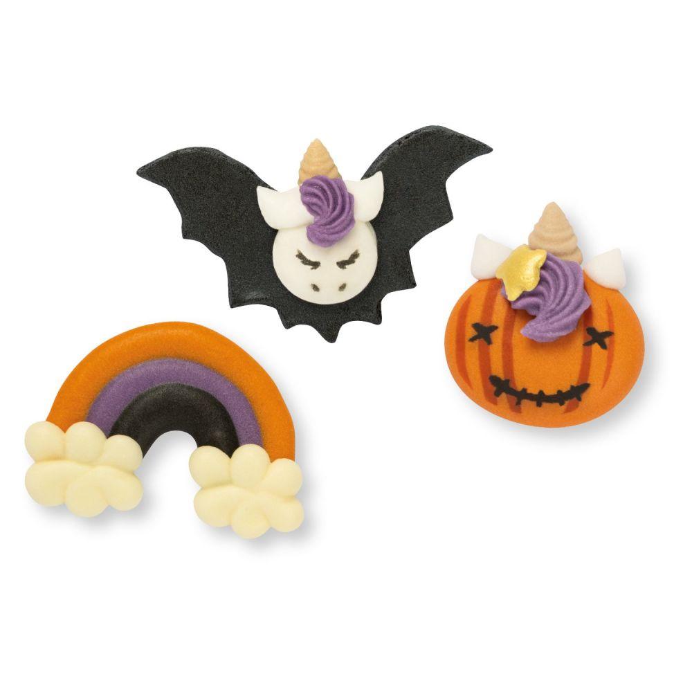 Halloween Sugar Unicorn BAT, RAINBOW & PUMPKIN - Pack of 6 (Assorted 2 each
