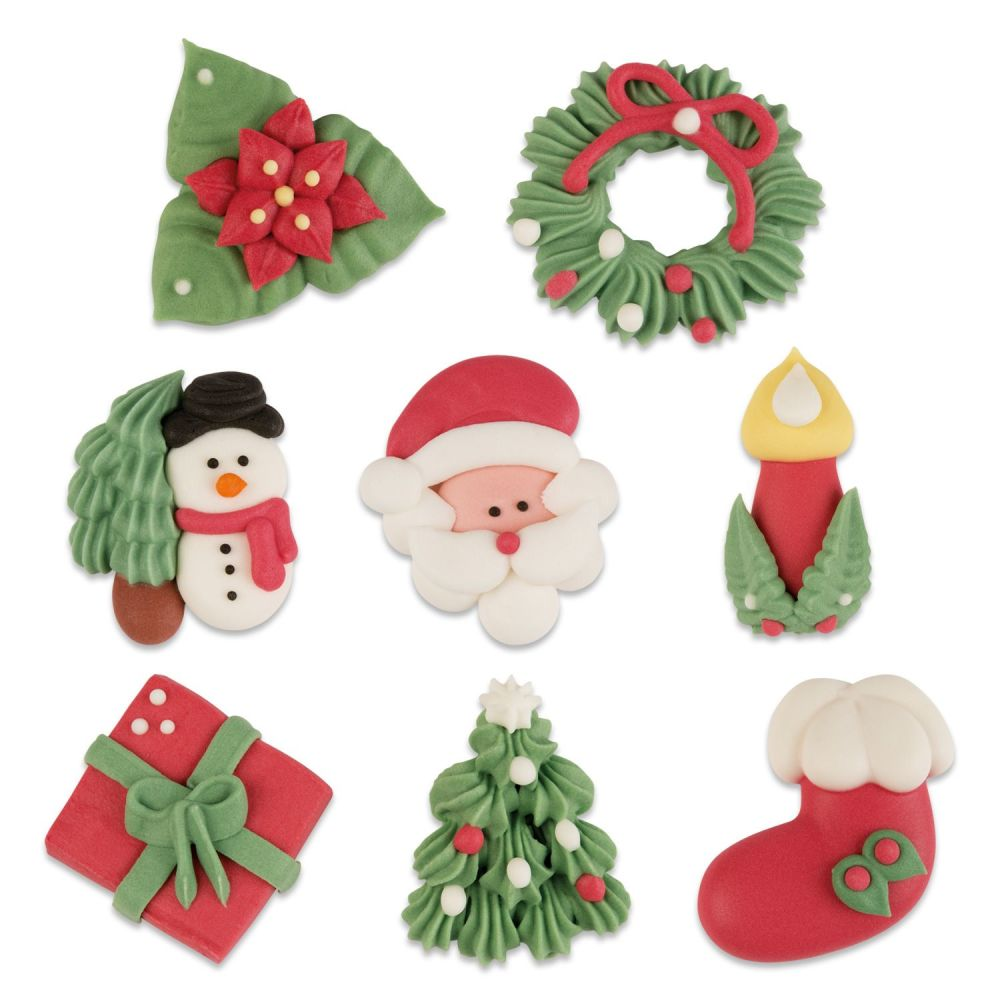Sugar Christmas Assortment (Pack of 8) - Present, Tree, Stocking, Candle, S