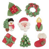 Sugar Christmas Assortment (Pack of 8) - Present, Tree, Stocking, Candle, Santa Face, Snowman, Wreath & Poinsettia