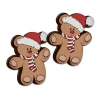 Dark Chocolate Squares 30mm with Cute CHRISTMAS Bear (Pack of 12)