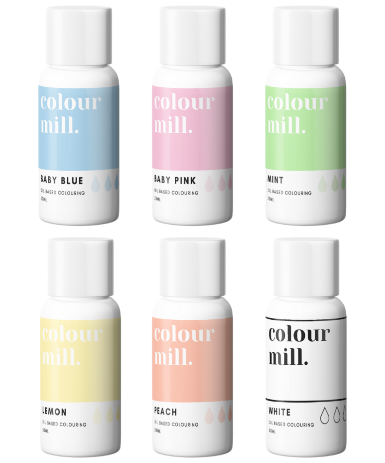 6 Pack  Pastels - Colour Mill 20ml  - Baby Blue, Baby Pink, Mint, Lemon, Pe
