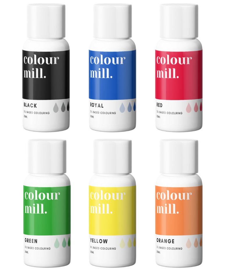 6 Pack  Primary - Colour Mill 20ml  - Black, Royal, Red, Green, Yellow & Or